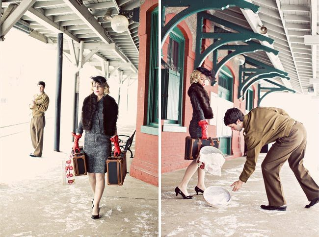 loving these themed photo shoots - this couple chose a vintage shoot and created a whole story to go with it...