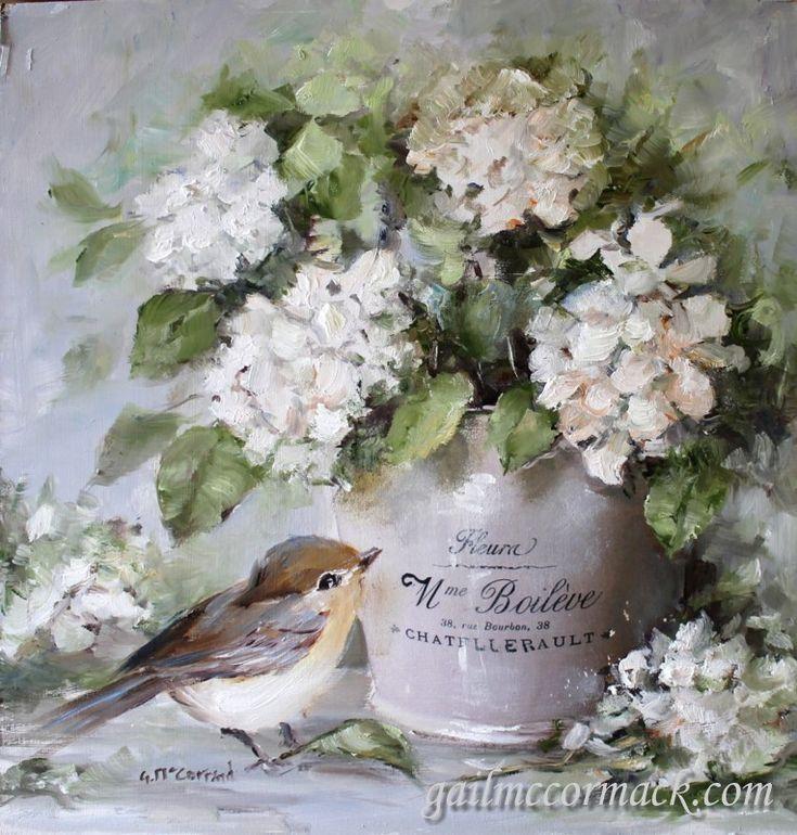 French Pot, Bird & Hydrangeas