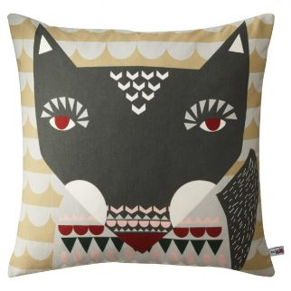 Donna Wilson Wolfie Cushion - grey Wolfie's big friendly face is printed on 100% Cotton, with back of head and tail printed on the reverse. Mushroom /Grey Comes with duck feather cushion pad