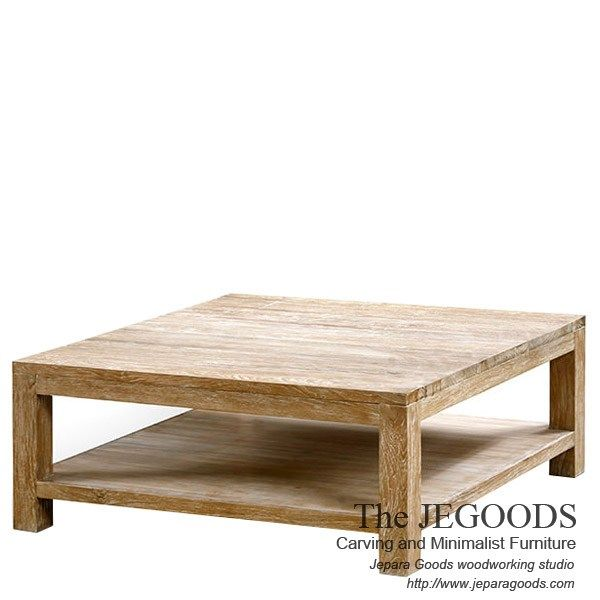 Whitewashed Rustic Coffee Table Square Made of Teak Indonesia.  We produce and supply #rusticfurniture at affordable price by skilled #craftsman from Jepara, Central Java - Indonesia.
