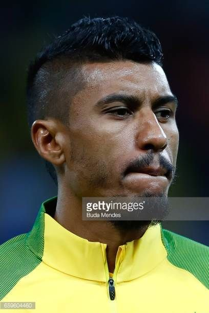 Paulinho of Brazil looks on before a match between Brazil and Paraguay as part of 2018 FIFA World Cup Russia Qualifier at Arena Corinthians on March...