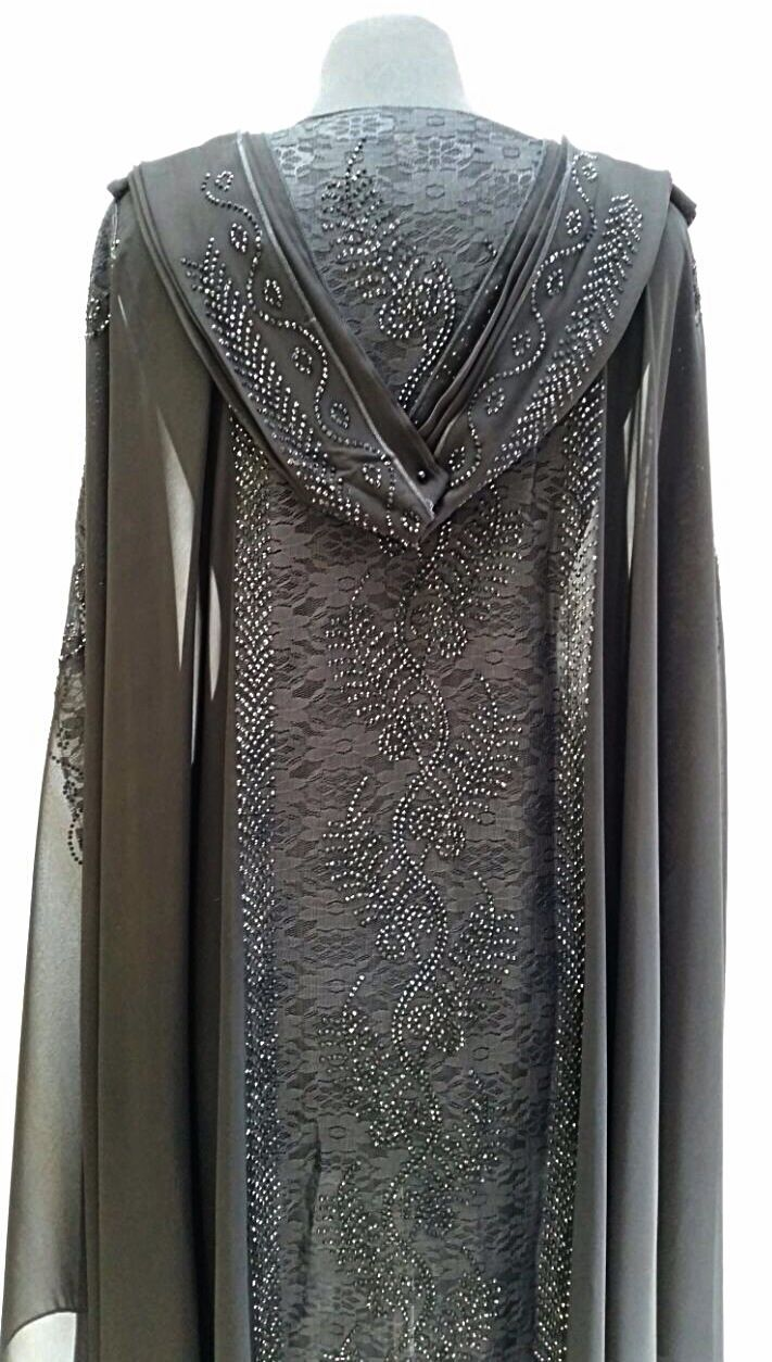 SOLD! Stunning cloak with lace and black diamanté design on back. Option of wearing with hood. Transparent fabric. Size 56. Ref: 11