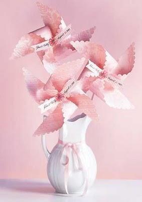 pinwheel centerpieces! pinwheel wedding, non floral wedding centerpieces, wedding centerpiece ideas