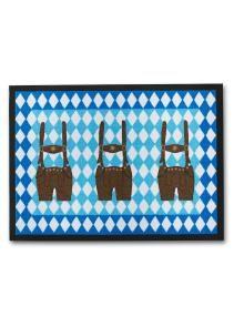 bpc living   Fußmatte Seppl in blau: Bedruckte Schmutzmatte mit Lederhosen-Motiven, umlaufender schwarzer Rand,