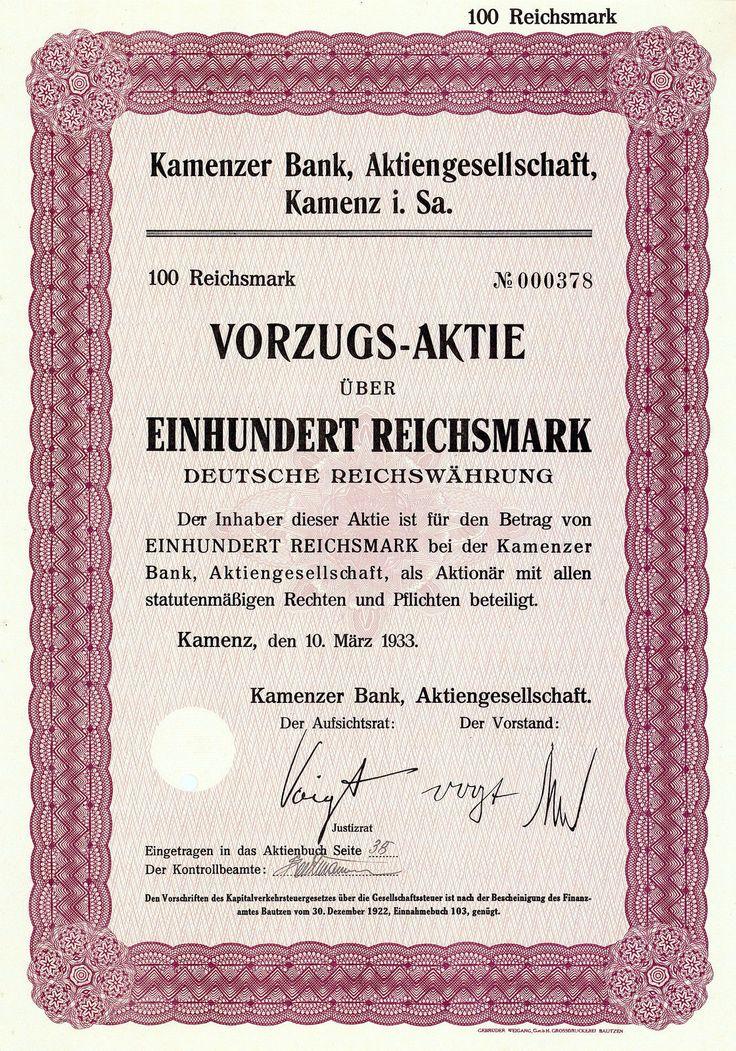 Kamenzer Bank, Kamenz in Sachsen, Aktie à 100 RM von 1933 + AUFLAGE: 20 STÜCK!