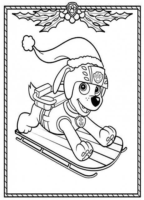 Cagnolino Paw Patrol Natale Per Bambini Da Colorare Gratis