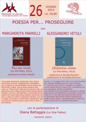 POESIA PER... PROSEGUIRE. Roma 26/6/14: Margherita Parrelli e Alessandro Vetuli Libreria Odradek, alle ore 18.00, via dei Banchi Vecchi 57, Roma