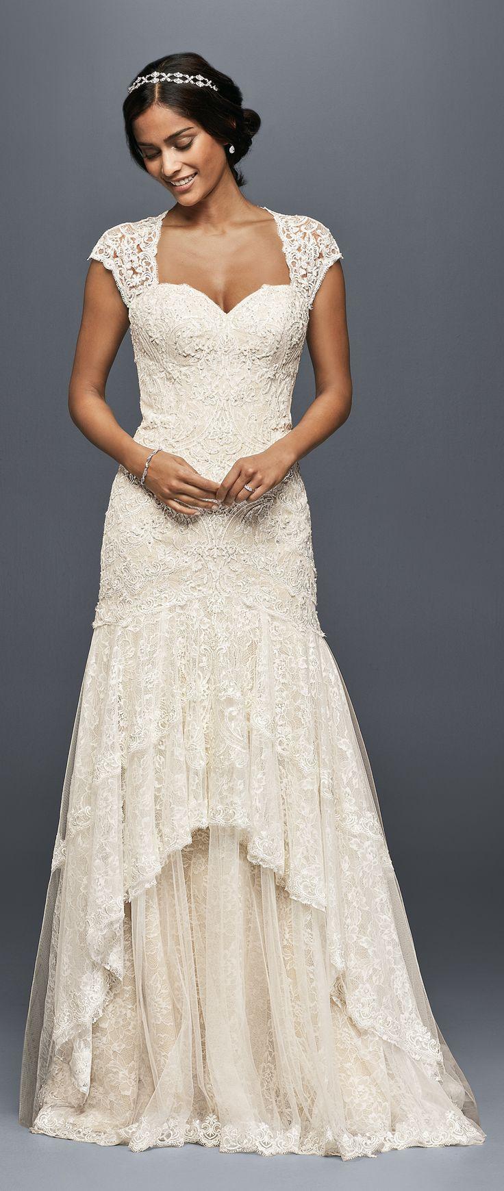 Tiered Lace Mermaid Wedding Dress with Beading David's