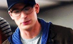 Chris Evans, Captain America, gif, glasses, cute, adorkable