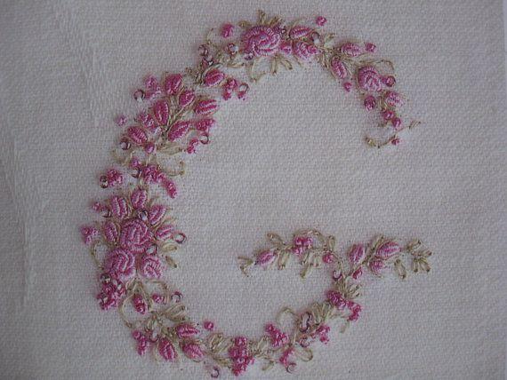 Vintage Ladies Handkerchief Hand Embroidery Monogram Letter G