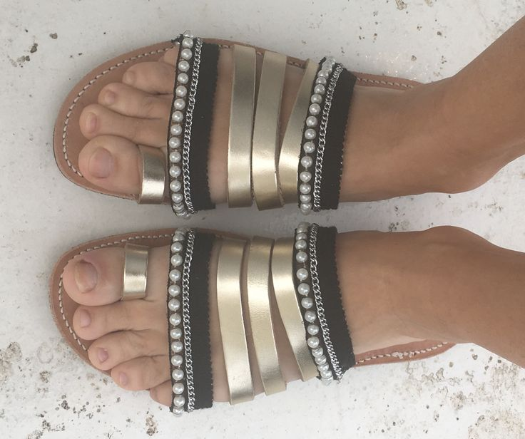 greek leather sandals with pearls and chains