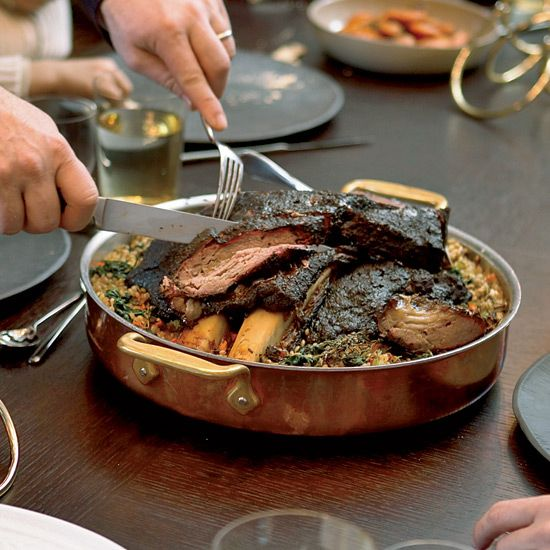 Slow-Braised Short Ribs with Spinach | 28 Passover Mains For A Seder Of Any Size