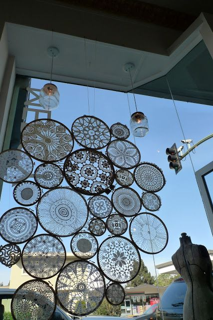 Installation made of lace crochet mandalas.