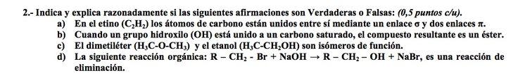 Ejercicio 2, propuesta 2, SETIEMBRE 2004-2005. Examen PAU de Química de Canarias. Tema: reacciones de química orgánica.