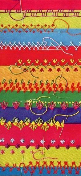 lindo bordar num tecido listrado -0s diferentes pontos fazem um acabamento único !!.
