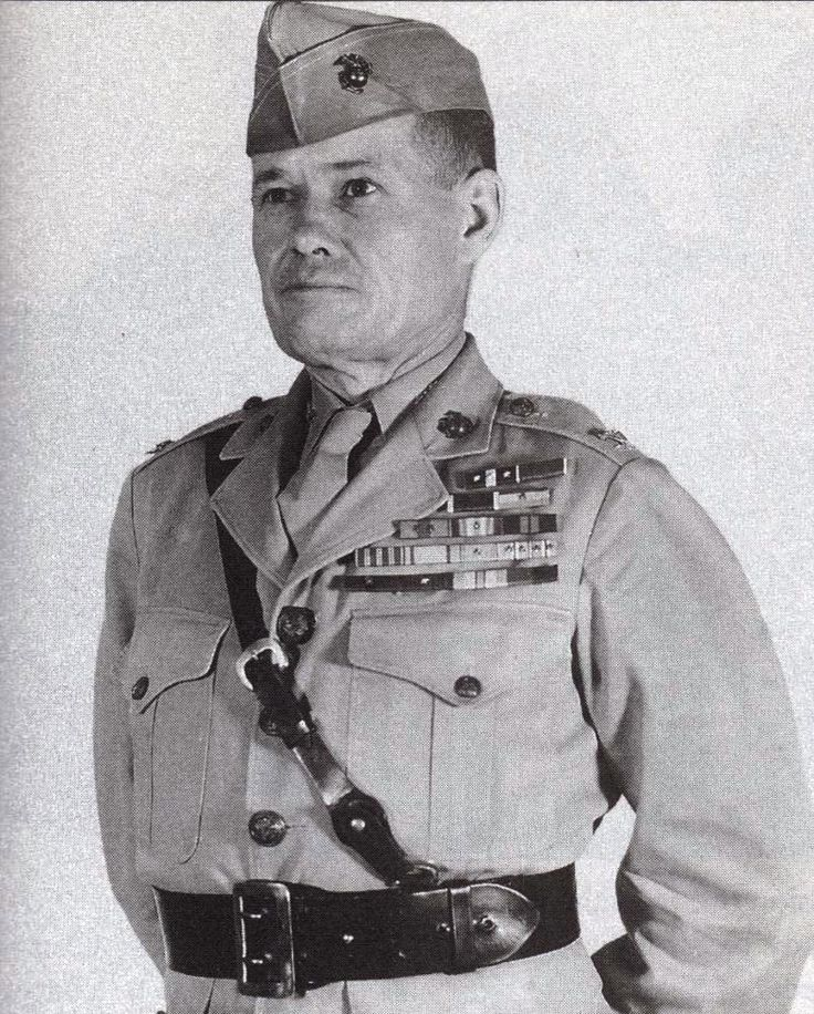 "Lieutenant General Lewis Burwell ""Chesty"" Puller (1898 – 1971) was a retired general officer of the USMC. Lt. Gen. Puller is one of the most, if not the most, decorated combat Marine in Marine Corps history. He is the only Marine to be awarded five Navy Crosses.During his career, he fought guerrillas in Haiti and Nicaragua, and participated in some of the bloodiest battles of WW II and the Korean War. Puller retired from the Marine Corps in 1955, spending the rest of his life in Virginia."