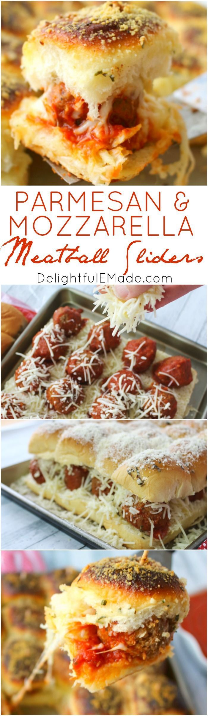 These amazing Parmesan & Mozzarella Meatball Sliders are the perfect party food! Super-simple to make, this easy slider recipe is great for serving at your next watch party and also makes for a great pot-luck dish. #Delightfulemade #Partyfood #Appetizer #Meatballsliders #Potluck #Mozzarella #Meatball