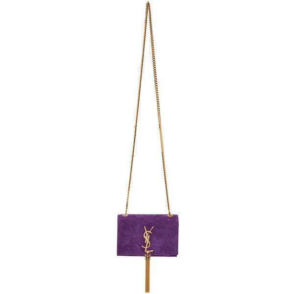 Saint Laurent Purple Suede Small Monogram Tassel Bag ($1,760) ❤ liked on Polyvore featuring bags, handbags, shoulder bags, chain strap purse, shoulder handbags, white shoulder bag, purple suede handbag and yves saint laurent handbags