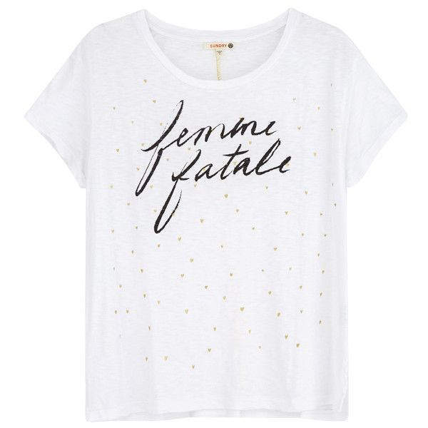 Sundry Femme Fatale Tee - White ($106) ❤ liked on Polyvore featuring tops, t-shirts, gold t shirt, white t shirt, slogan tees, white top and sundry t shirts