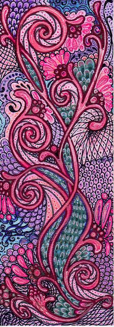 by langelbleu via flickr - Pink Paisley Zentangle, love the colour in this.