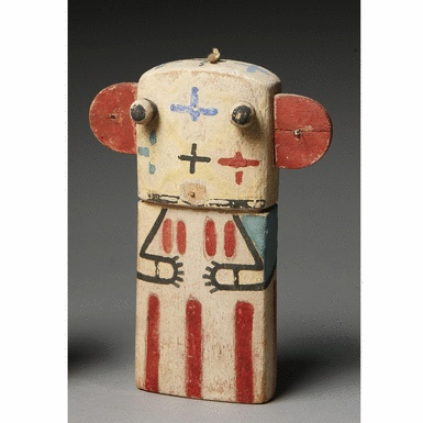 A HOPI POLYCHROME WOOD FLAT-STYLE KACHINA DOLL