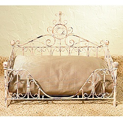 Your small four-legged friend will love the luxury of this antique pet bed. Hand-forged from iron and tole by master craftsmen and hand-finished in a multi-step process. This antique pet bed uses standard size bed pillow.