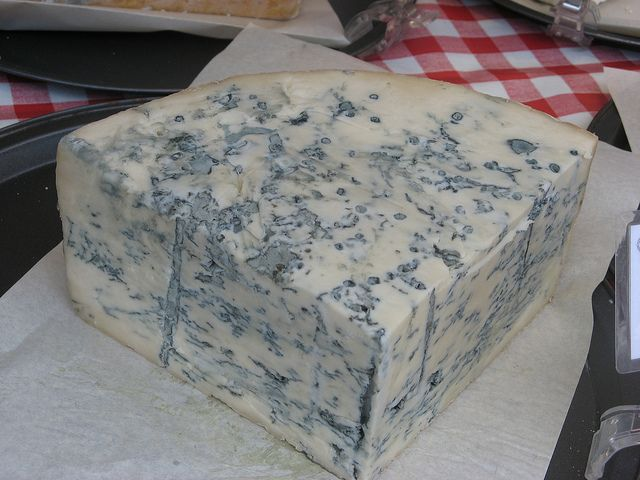 A healthy wedge of Gorgonzola cheese. Novara, in Alto Piemonte, produces 60% of the world's gorgonzola!