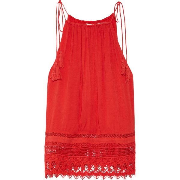 Alice + Olivia Danya lace-trimmed crepon camisole (835 BRL) ❤ liked on Polyvore featuring tops, lace trim camisole, loose camisole, lace camisole, red lace cami and lace trim cami