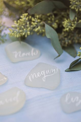 Seaglass escort and place cards | Amanda Berube Photography | see more on: http://burnettsboards.com/2014/11/whimsical-rocky-coast-wedding-inspiration/