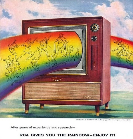 """#ThrowbackThursday – """"After years of experience and research – #RCA gives you the #rainbow – #enjoy it!"""" – What's your favorite #color of the rainbow? #throwbackthurs #tbt #vintage #retro #tv"""