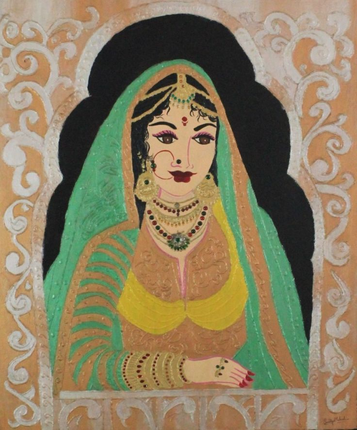 PRINCESS IN DARBAR WINDOW Mural Painting SIZE: 32 INCH X 36 INCH,  MURAL PAINTING ON HARD BOARD WITH GOLDEN FIBRE  FRAME