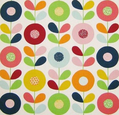 scandinavian fabric vtg retro DIY cushion curtains 50s 60s Marimekko Heals era  