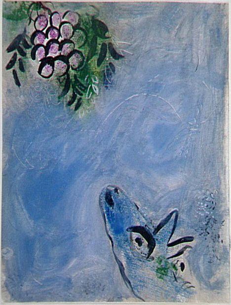 Marc Chagall (1887 - 1985)  Le renard et les raisins 1952 Encre, lavis, gouache, grattage sur papier vélin 37 x 28 cm. Centre Pompidou