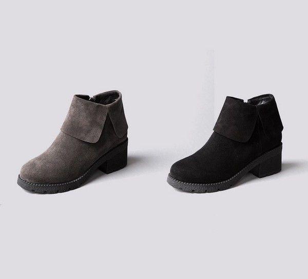 【韩国萝莉】milkcocoa定制2015秋冬新款休闲翻边女式中跟马丁靴