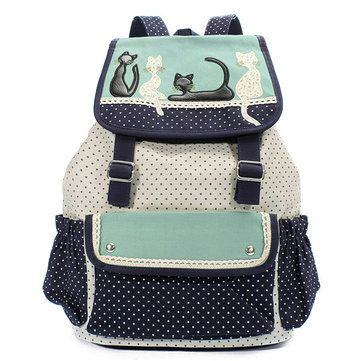 Women Cat Canvas Backpack Girls Dot Drawstring Rucksack School Students Book Bag - US$25.52 sold out