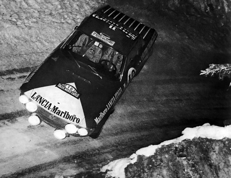 """Harry """"Sputnik""""Kallstrom in a Lancia Fulvia at the 1973 WRC Monte Carlo.This one actually looks like a Marlboro pack"""