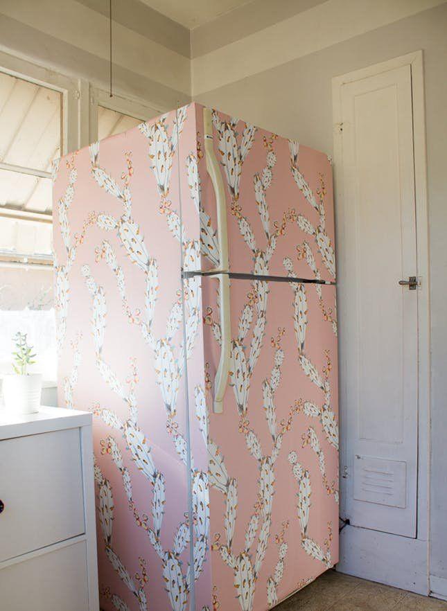13 Easy Kitchen Updates You Can Do This Spring Fridge Decor Fridge Makeover Rental Decorating