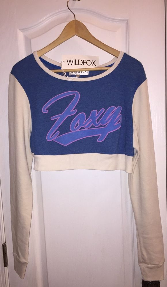 Nwt WILDFOX Couture FOXY On The Field Sweatshirt Pop Crop Top Jumper Women's #WildfoxCouture #CropTop #Casual