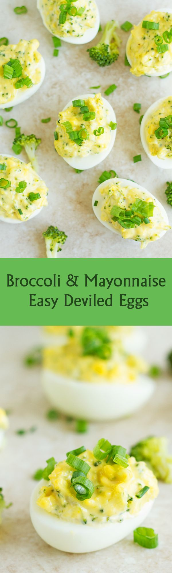 Broccoli & Mayonnaise Easy Deviled Eggs - Vegetarian easy deviled eggs recipe stuffed with broccoli and mayonnaise. This is perfect for Easter, brunch, appetizer or any Party! It can be served with bread of bun by http://ilonaspassion.com I /ilonaspassion/