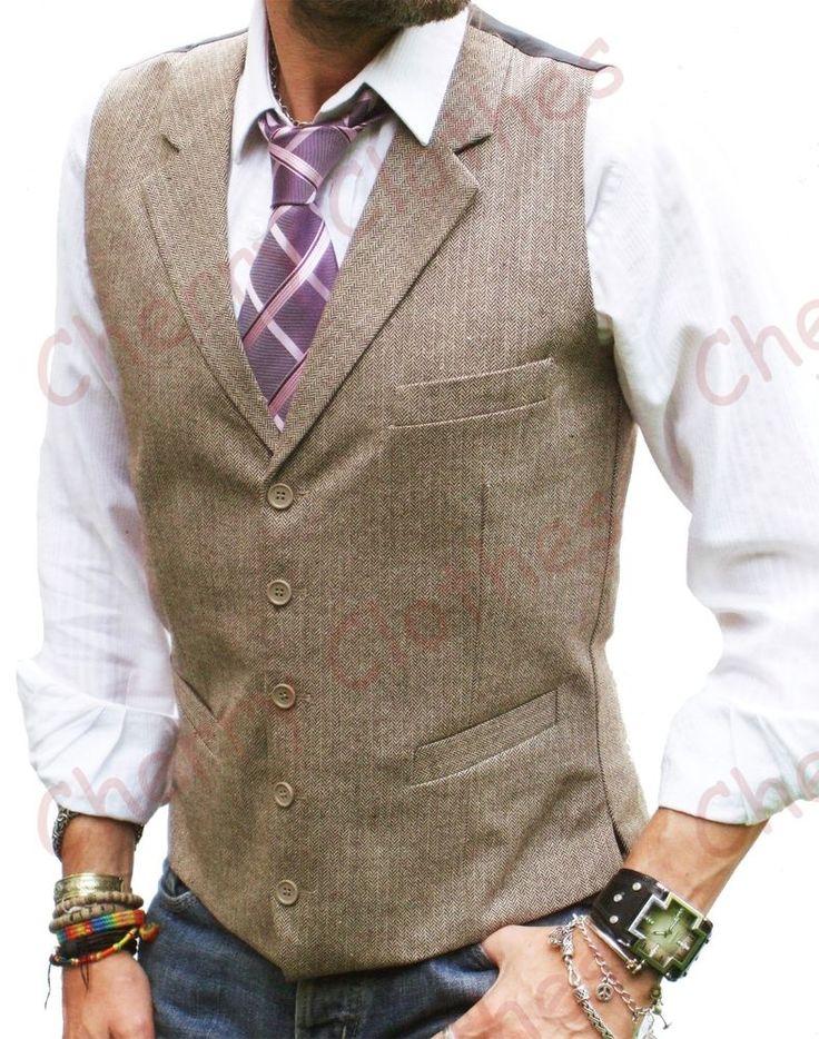 MENS WOOL BLEND TWEED BROWN BEIGE HERRINGBONE LAPEL WAISTCOAT VEST ALL SIZES #LloydAttreeSmith #Ultimate