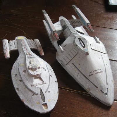Star Trek Papercraft: Voyager and Prometheus | Tektonten Papercraft  Star Trek:Voyager television series. On the left is the U.S.S. Voyager, the namesake of the show. In episode one, Voyager is teleported 70,000 light years from Earth and presumed destroyed by the rest of the fleet. Pictured on the right is the U.S.S. Prometheus. The Prometheus is an advanced starship which can separate into three separate spacecraft.
