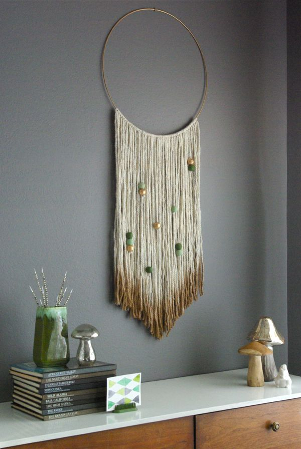 DIY Gold Dipped Yarn Hanging @dmcolor