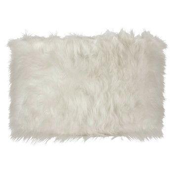 ALPAGA non-electric faux fur pendant lamp in white D 50cm