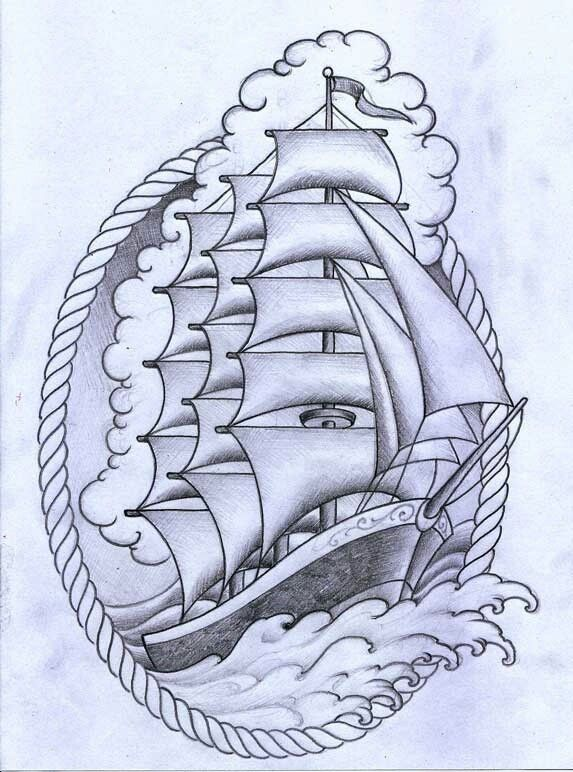 Ship with rope border | Tattoos, Tattoo drawings, Tattoo ...