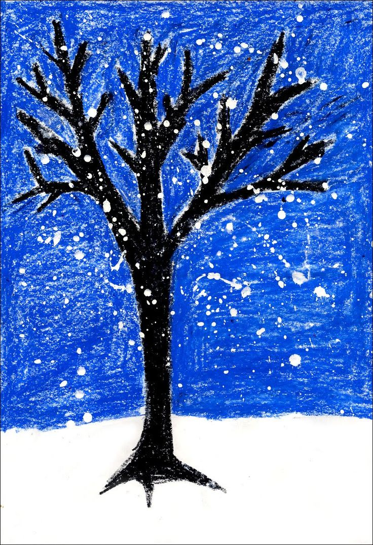 Art Projects For Kids: How To Draw A Winter Tree Using Oil Pastels For The
