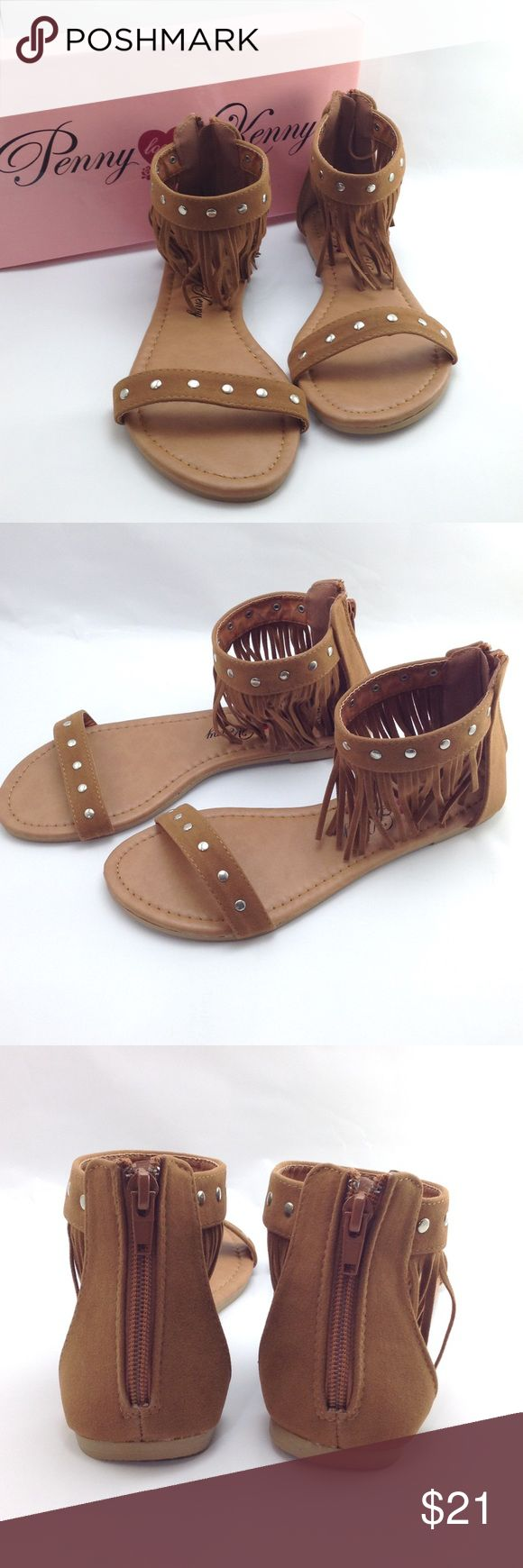 Penny ❤ Kenny fringed sandals So boho and cute! Faux leather upper s. Back zipper. Penny loves Kenny Shoes Sandals
