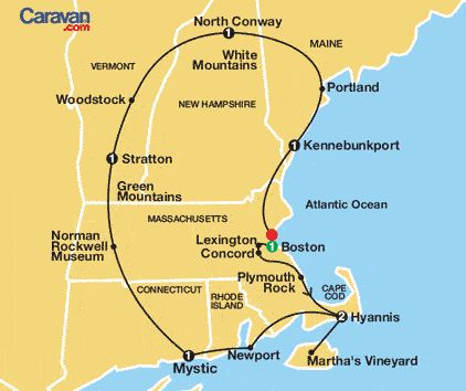 TOO LONG FOR US  New England Tour Map    8 Days from $1,095  Maybe it would be nice to let someone else do the driving.