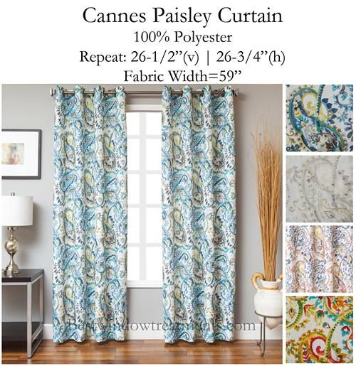 Cannes Paisley Curtain available in 4 colors