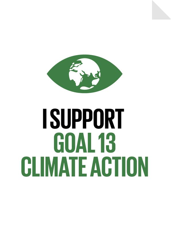 Goal 13 - I support Climate Action -Take urgent action to combat climate change and its impacts* by 2030 we will have strengthened resilience to climate related hazards and natural disasters in all countries