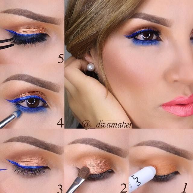 """Pictorial 1⃣ I started off with @makeupgeekcosmetics eyeshadow in """"chickadee"""" on my crease I then added @nyxcosmetics jumbo eye pencil In """"gold"""" on my eyelid 2⃣I used @nyxcosmetics prismatic shadow in """"Liquid Gold""""on my eyelid 3⃣Next I added @nyxcosmetics studio liquid liner in """"Extreme Blue"""" I also used this liner in my water line (I'm sure it's not meant to go in waterline but I used it there and my eye did not get irritated 4⃣I used """"freshwater"""" eyeshadow from mac under bottom lash line…"""